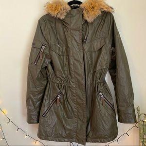 SAM. New York Green Fur Trim Hoodie Parka Jacket